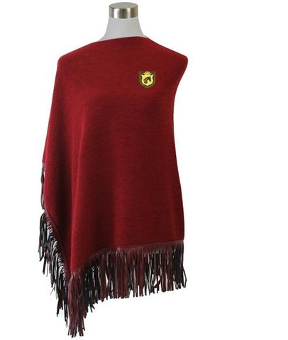 Fringe Poncho in Aurora Red by Equestrianista.