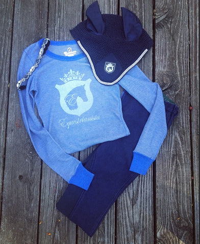 Equestrian Riding Outfit of the Day Blue Color Trend by Equestrianista Collection.