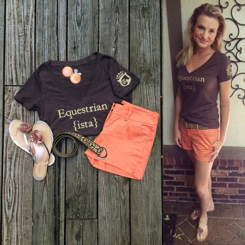 Equestrianista v-neck t-shirt paired with a Mango Bay belt and on trend summer shorts.