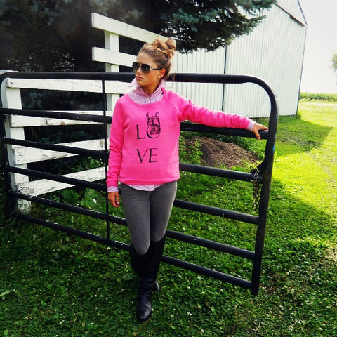 Equestrian apparel Love the View sweatshirt by Equestrianista.