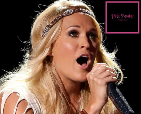 Country music star Carrie Underwood wearing a Pink Pewter headband.