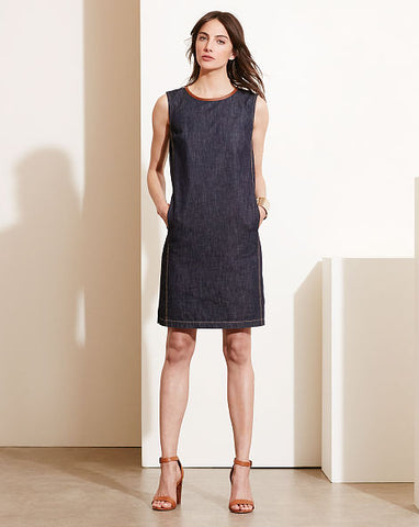 Ralph Lauren Leather-Trim Denim Dress.