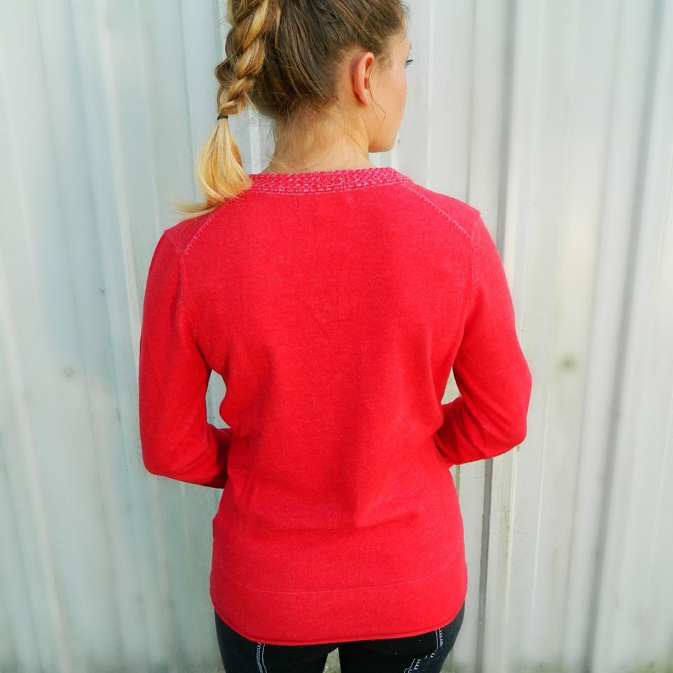 Back View of the Equestrian Barn Day V-Neck Cotton Sweater in Red by Equestrianista.