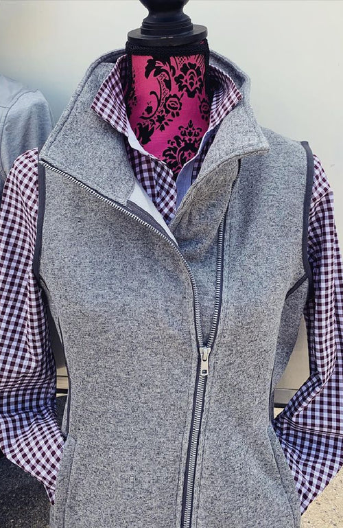 Equestrian Sweater Knit Vest with Fleece Interior in Grey by Equestrianista Brand Apparel and Accessories.