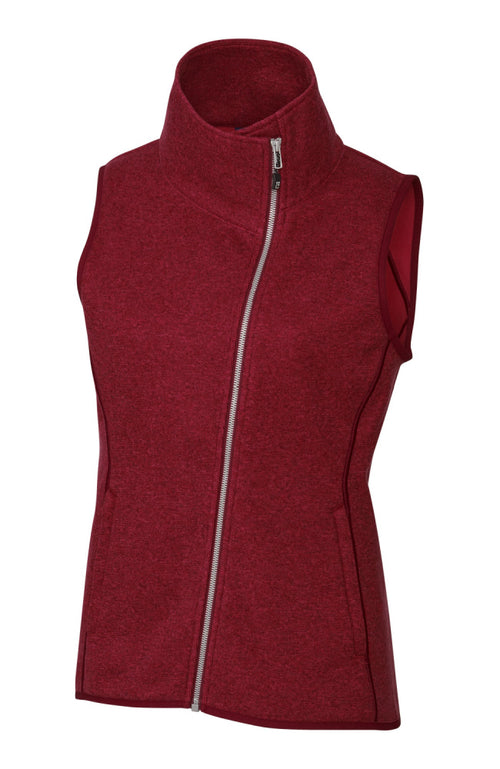Women's Funnel Neck Sweater Vest with Zipper in Heather Red by Equestrianista Brand Apparel and Accessories.
