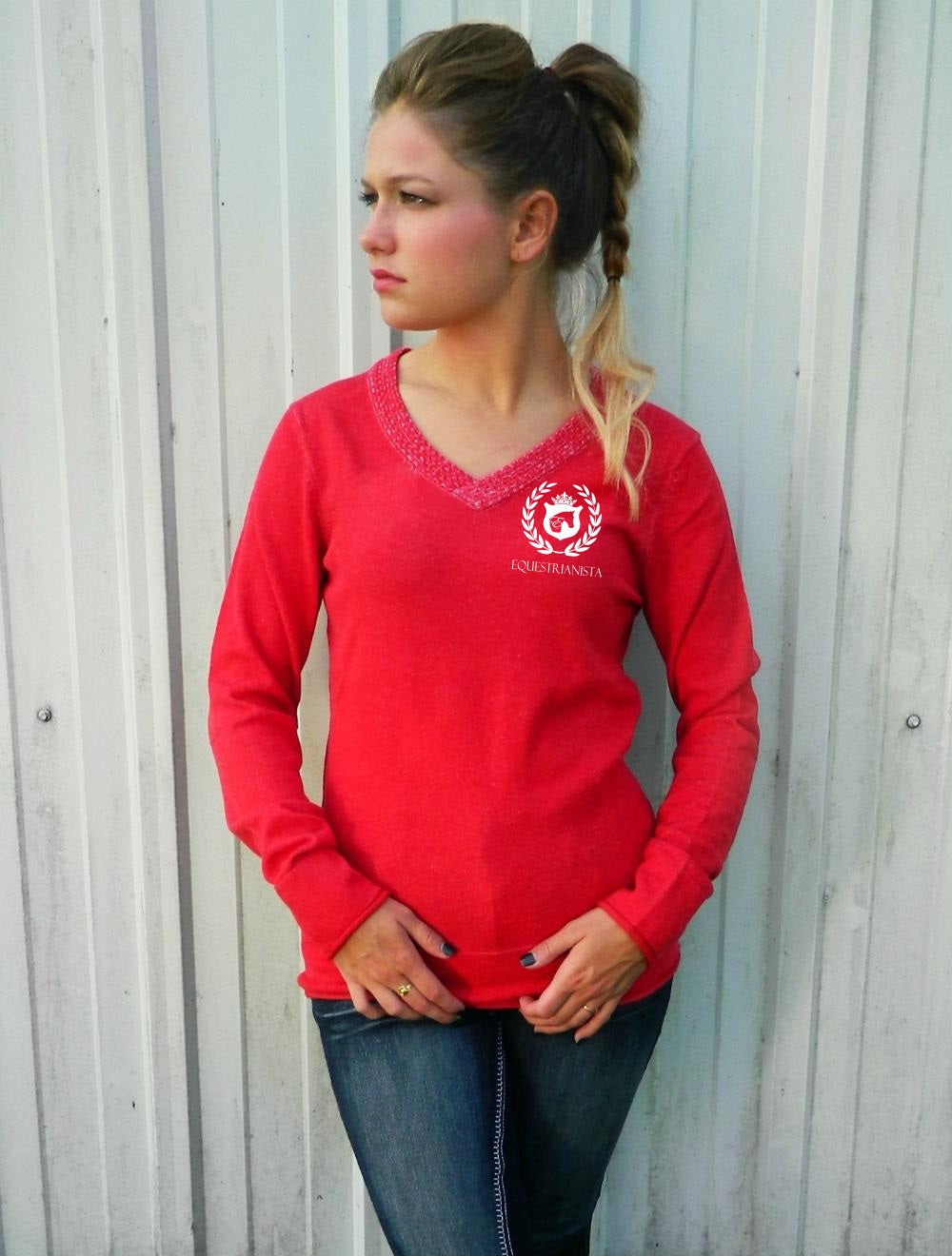 Equestrian Barn Day V-Neck Cotton Sweater in Red by Equestrianista.