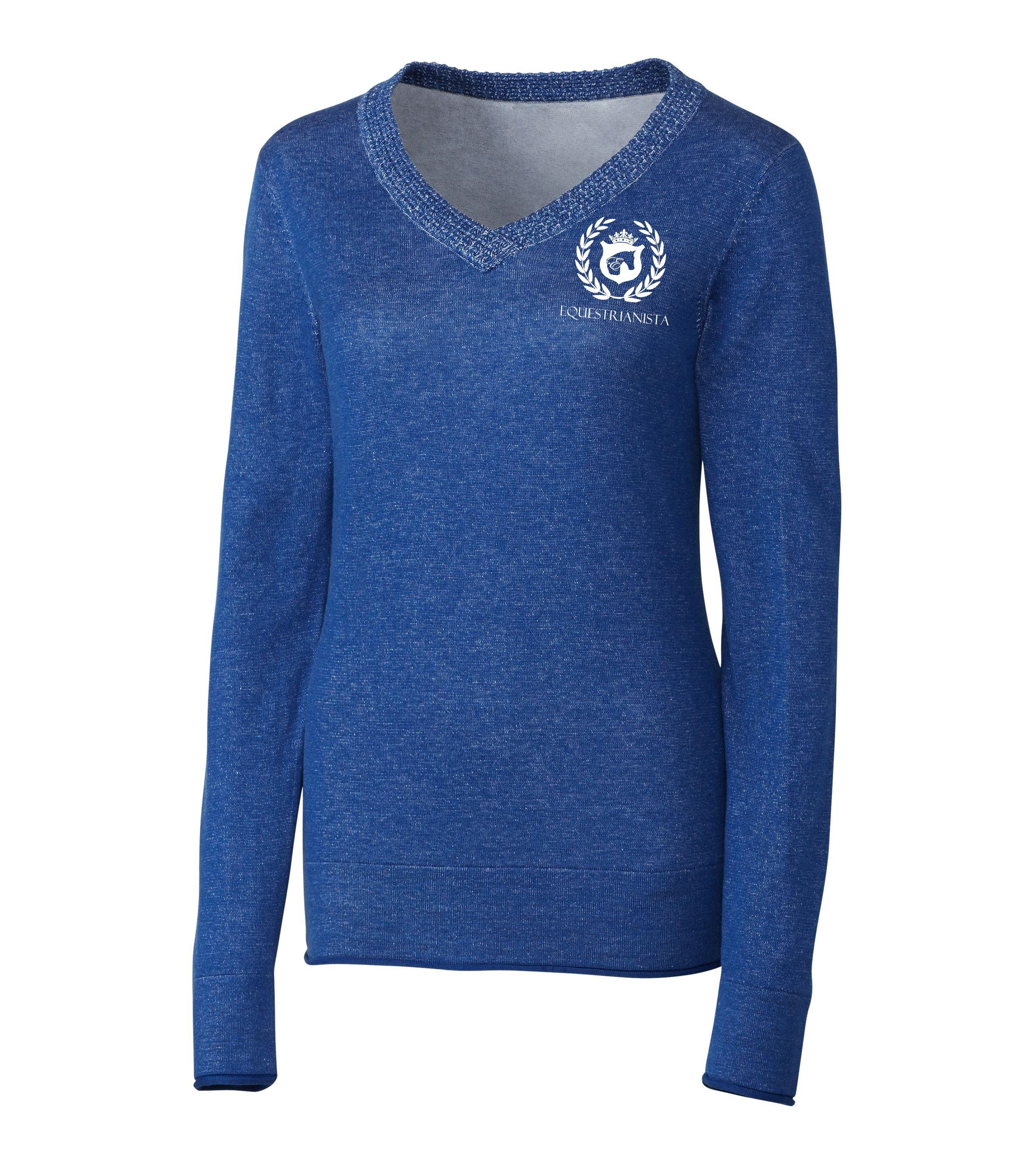 Women's Riding Sweater in Blue by Equestrianista Brand Apparel and Accessories.