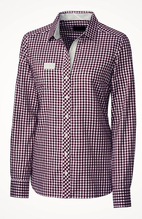 Women's Gingham Button Down Riding Shirt in Maroon from Equestrianista Brand Apparel and Accessories.