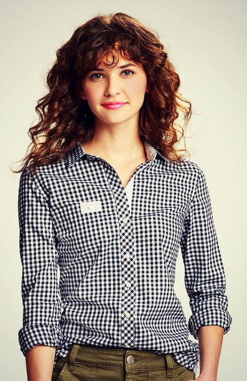 Women's Gingham Button Down Riding Shirt in Navy from Equestrianista Brand Apparel and Accessories.