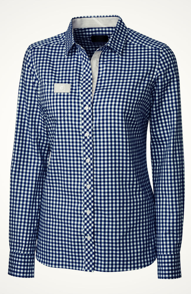 Ladies Checkered Button Down Equestrian Riding Shirt in Navy from Equestrianista Brand Apparel and Accessories.
