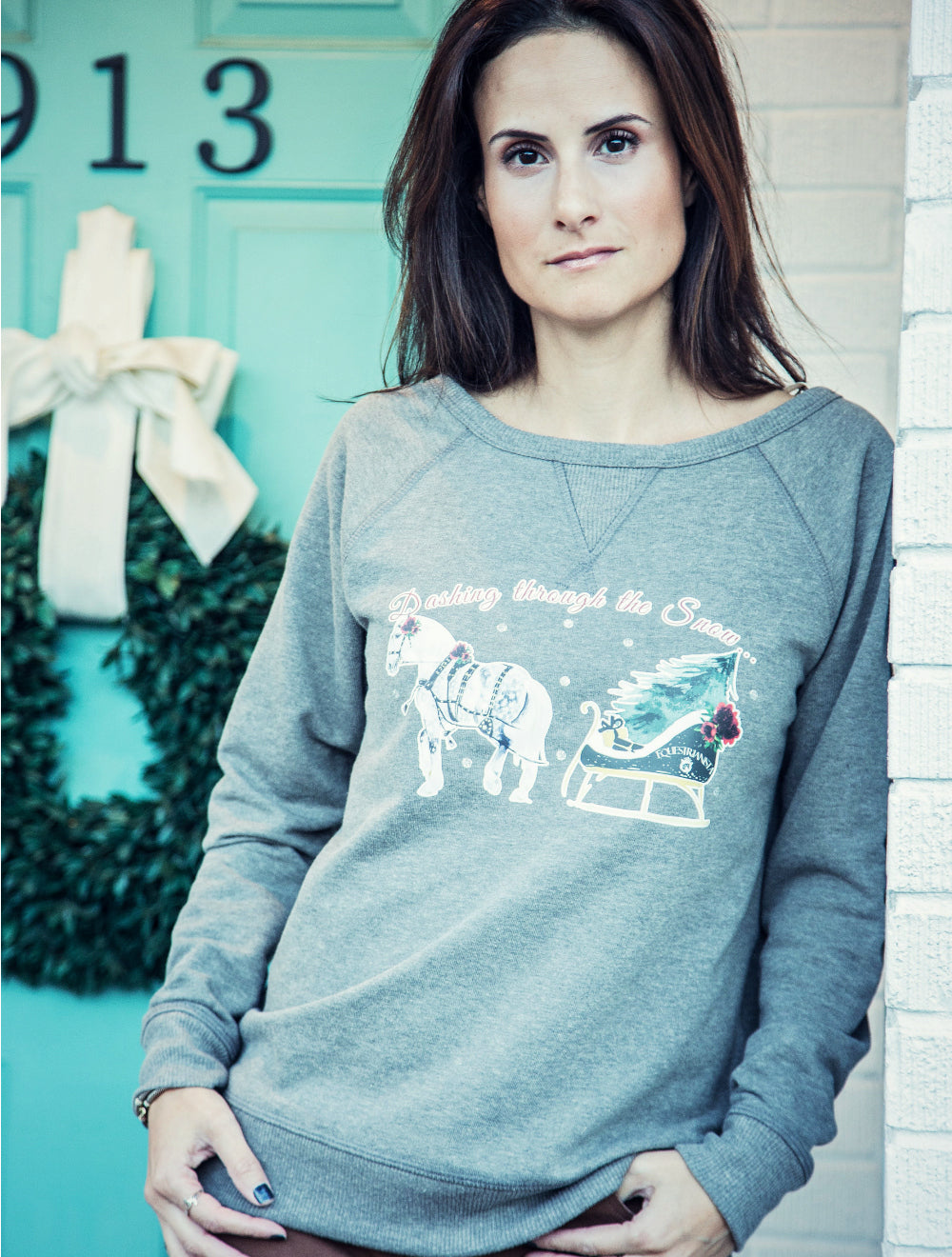 Equestrian Holiday Top by Equestrianista modeled by Horse Glam Equestrian Lifestyle Blogger.