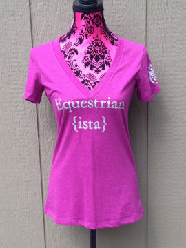 Equestrian V-Neck T-Shirt in Rasberry Pink by Equestriansta Brand.