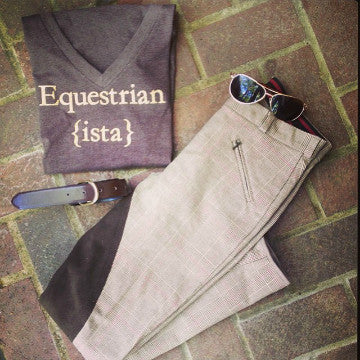 Equestrian ista T-shirt in Espresso and Gold paired with Dover Saddlery plaid full seat breeches.