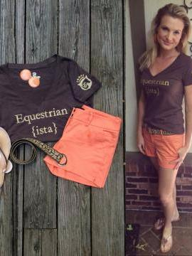 Equestrian Riding Tee in Espresso and Gold by Equestrianista.