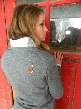 Sweater with Hunter on front and Fox on back by Equestrianista.