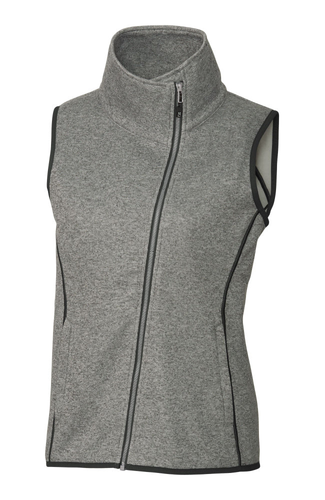 Women's Asymmetical Sweater Vest with Funnel Neck in Heather Grey by Equestrianista Brand Apparel and Accessories.