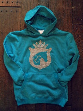 Girls Horse Hoodie in Blue by Equestrianista.