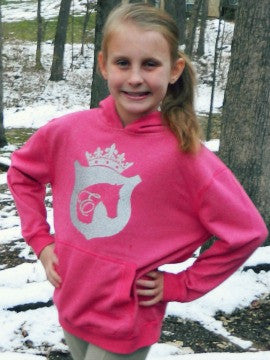 Girls Horse & Crown Hoodie in Pink by Equestrianista.