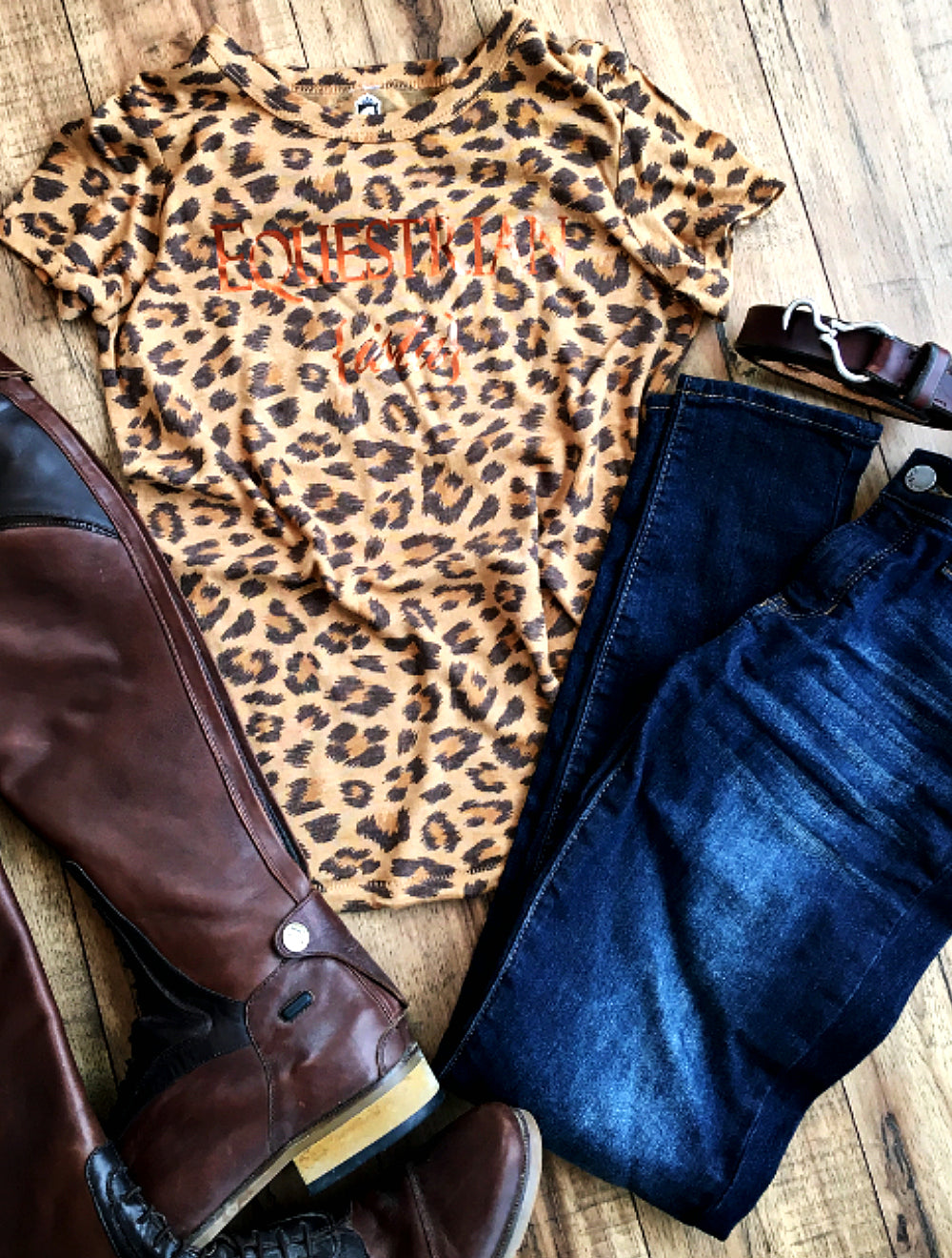 Equestrian Lifestyle Fashion Short Sleeve Leopard Print Top by Equestrianista Clothing Brand.