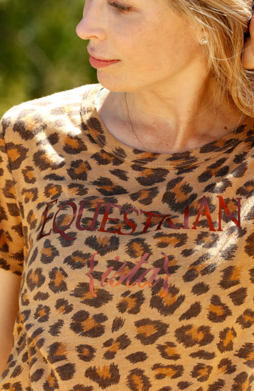 Women's Equestrianista Leopard Cheetah Print Short Sleeve T-Shirt worn by Helen Pollock of Life Equestrian.