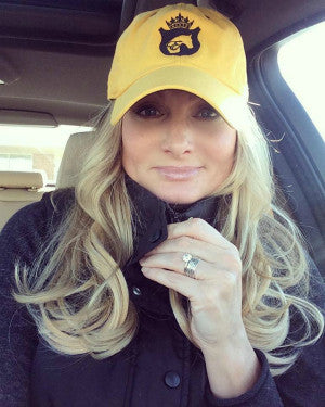 Equestrian Logo Baseball Cap in Yellow and Navy by Equestrianista.