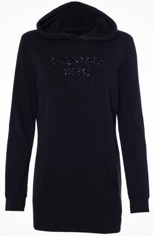 Women's Equestrian Fashion Sweatshirt Tunic Hoodie in Black by Equestrianista Brand Apparel and Accessories.