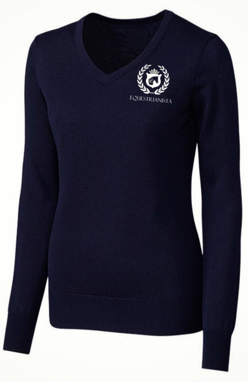 Women's Equestrian Perfect Fit Logo Sweater in Classic Navy by Equestrianista.