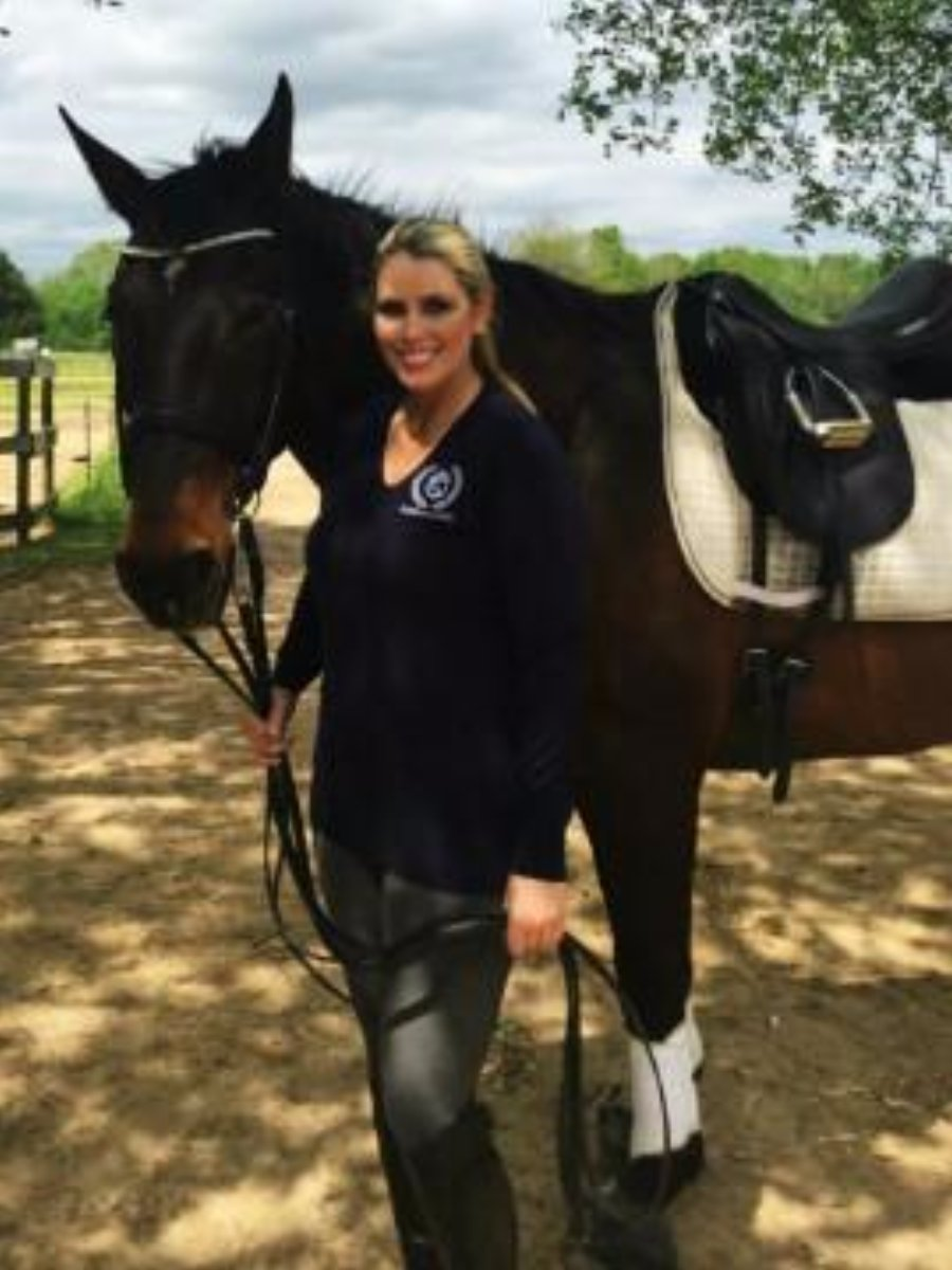 Equestrian Fashion Blogger the Velvet Rider wearing the Perfect Fit Logo Sweater by Equestrianista.