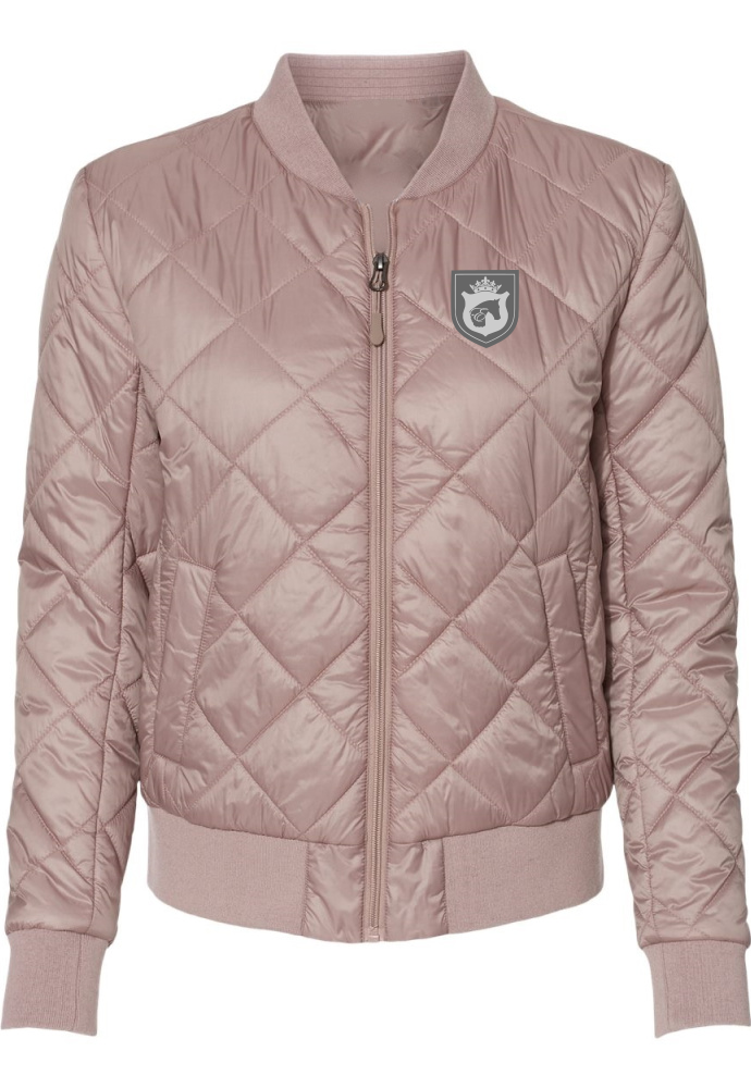 Equestrian Fashion Quilted Bomber Jacket in Blush by EQUESTRIANISTA Brand Apparel and Accessories.