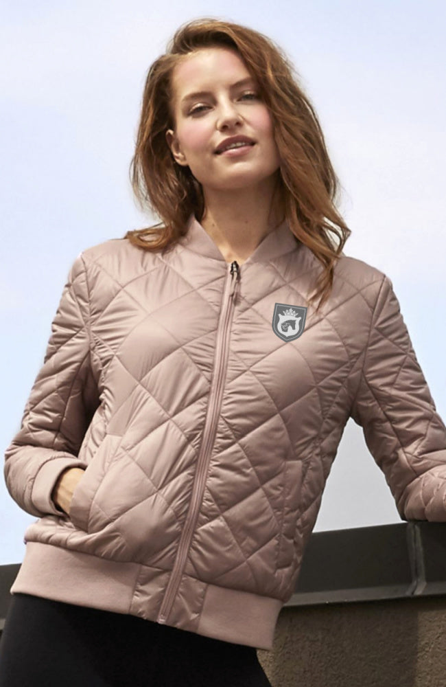 Womens Equestrian Style Quilted Bomber Jacket in Blush by EQUESTRIANISTA Brand Apparel and Accessories.