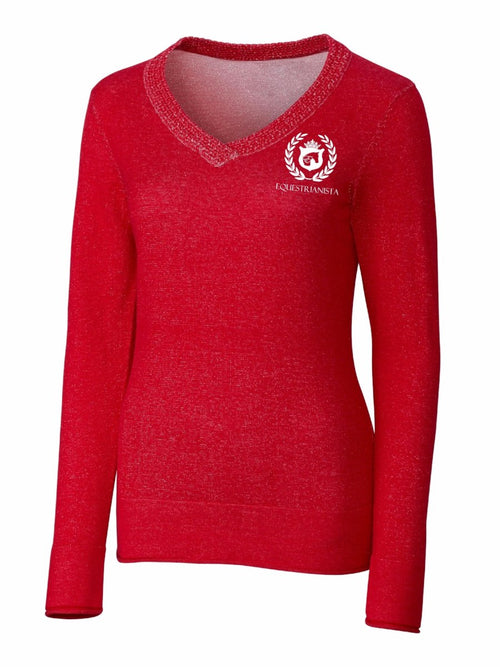 Equestrian V-Neck Riding Sweater in Red by Equestrianista.