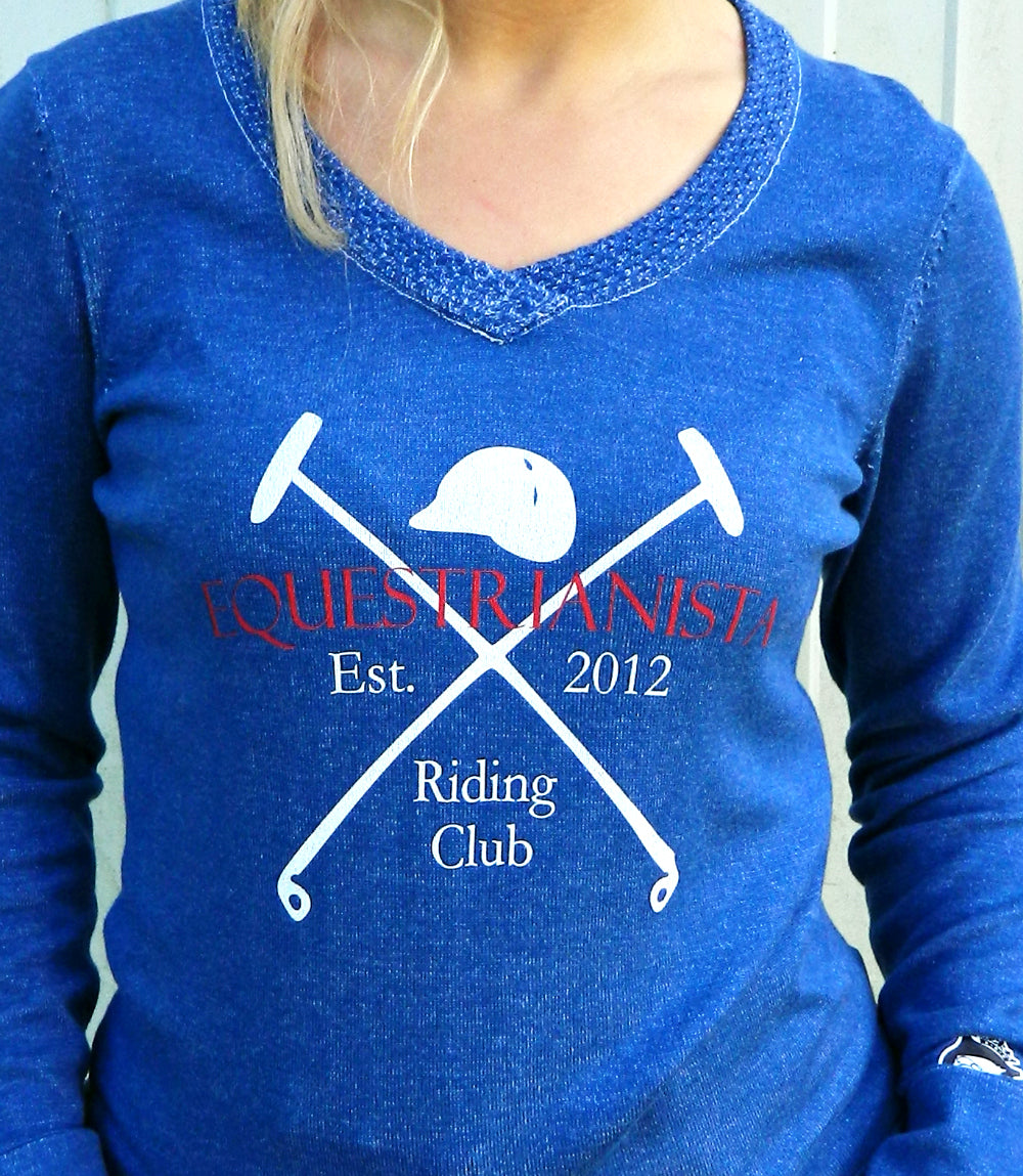 Equestrianista Riding Club V-Neck Cotton Sweater from Equestrianista Brand Apparel and Accessories.