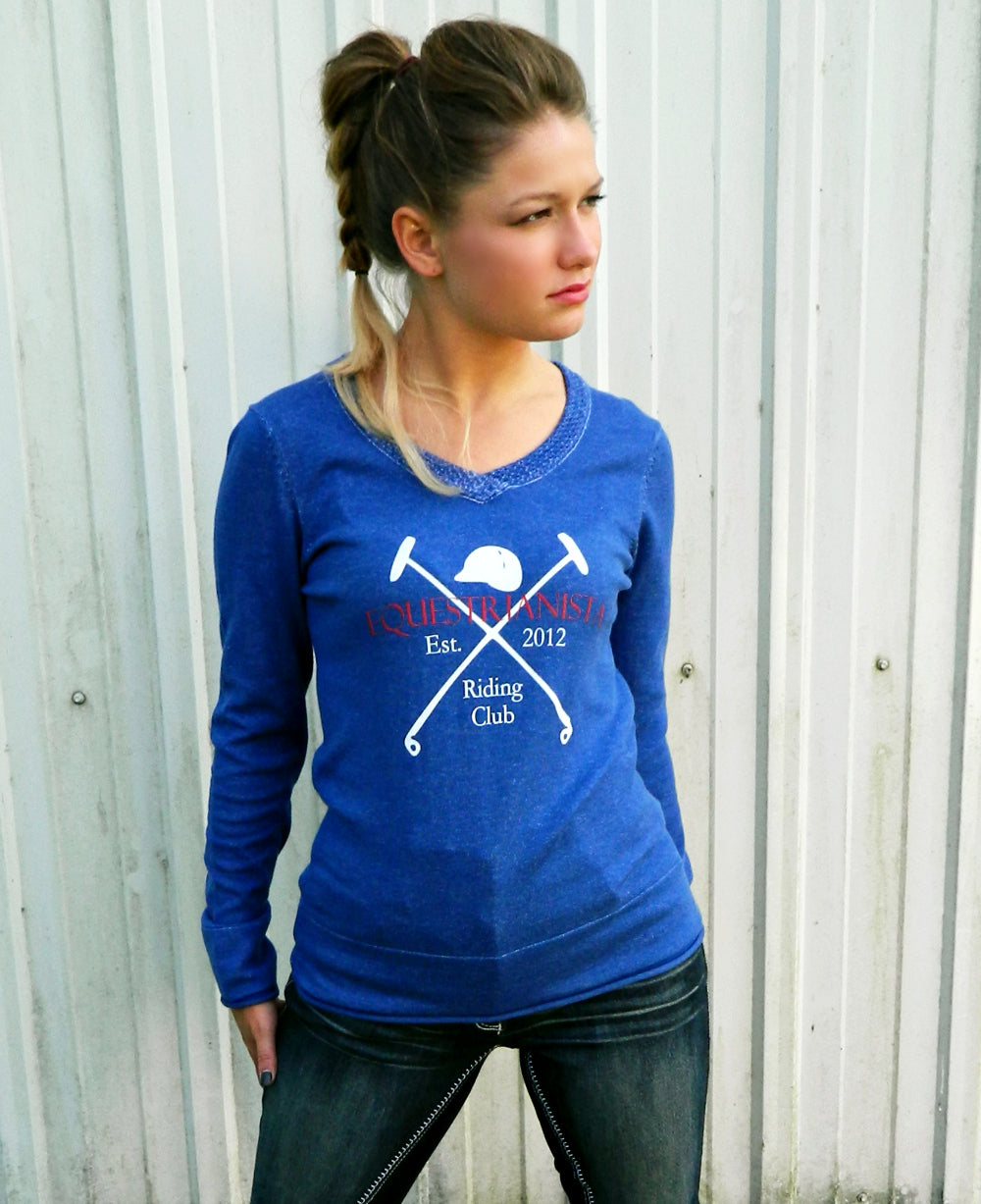 Women's Equestrian Riding Club Sweater in Blue by Equestrianista.