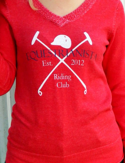 Equestrian Riding Club V-neck Sweater in Red by Equestrianista.