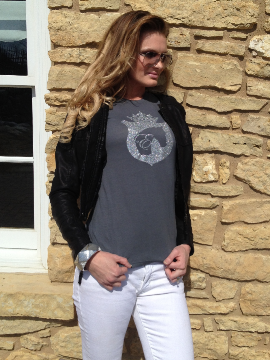 Glitter Equestrianista Logo Tee in Charcoal by Equestrianista Collection.