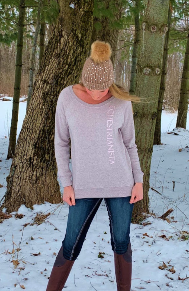 Equestrian Casual Sweatshirt Fleece in Grey or Rose by Equestrianista Brand Apparel and Accessories.