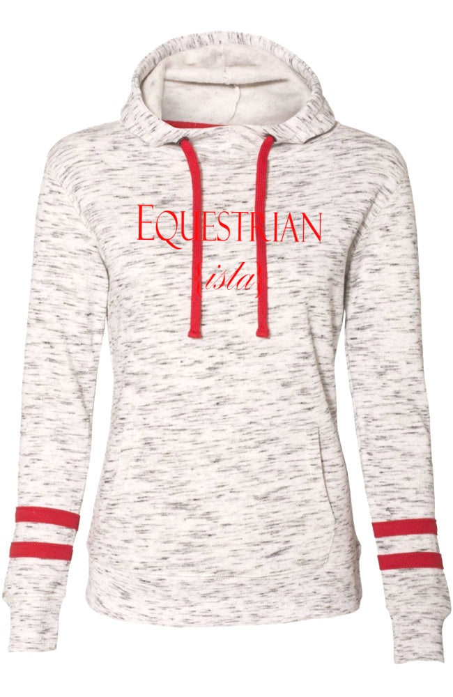Women's Collegiate Equestrian Sport Luxe Hoodie with Red Stripes by EQUESTRIANISTA Brand Apparel and Accessories.