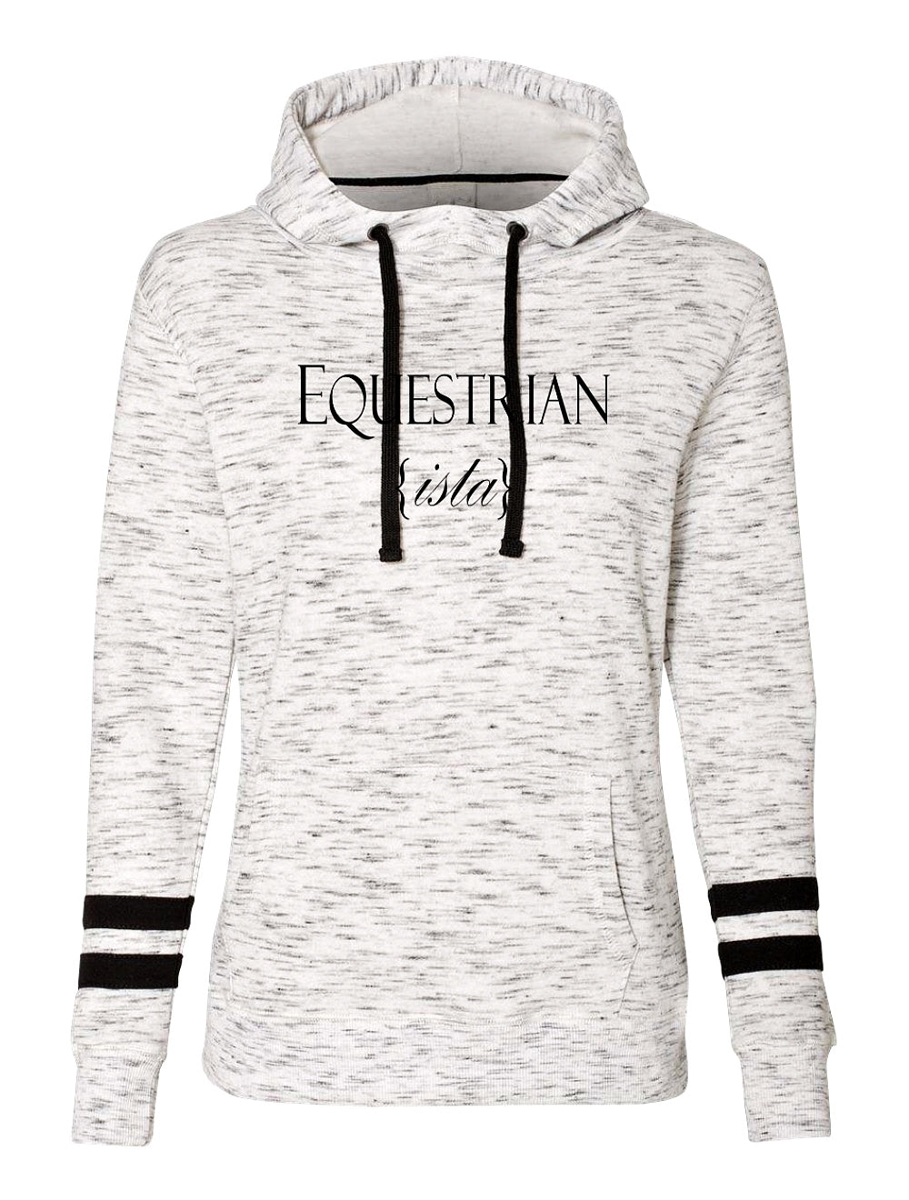 Women's  Varsity Equestrian Sport Luxe Riding Hoodie Fleece in Black by EQUESTRIANISTA Brand Apparel and Accessories.