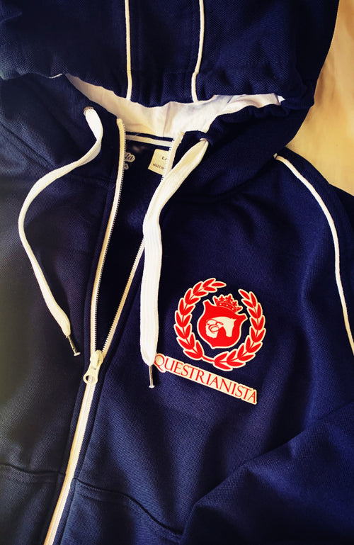 Women's Equestrian Full Zip Jacket in Navy by EQUESTRIANISTA Brand Apparel.