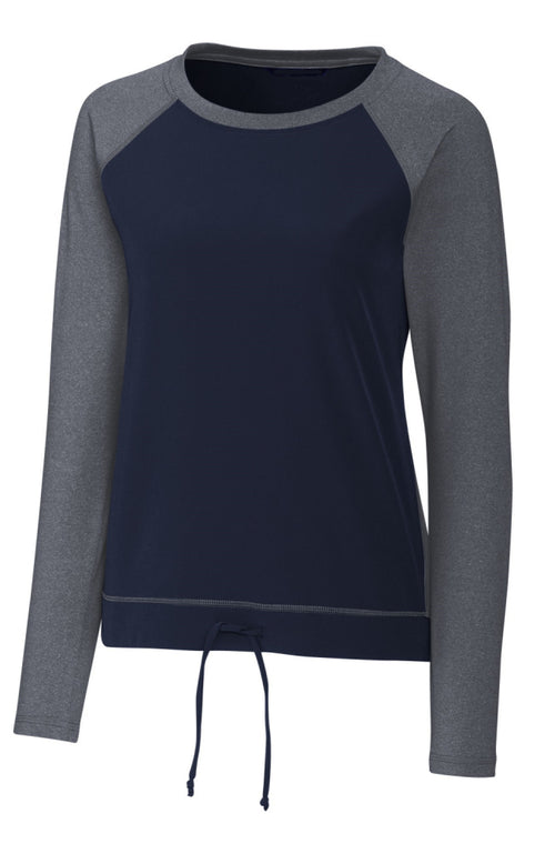 Womens Equestrian Varsity Pullover in Navy and Grey by EQUESTRIANISTA Brand Apparel.