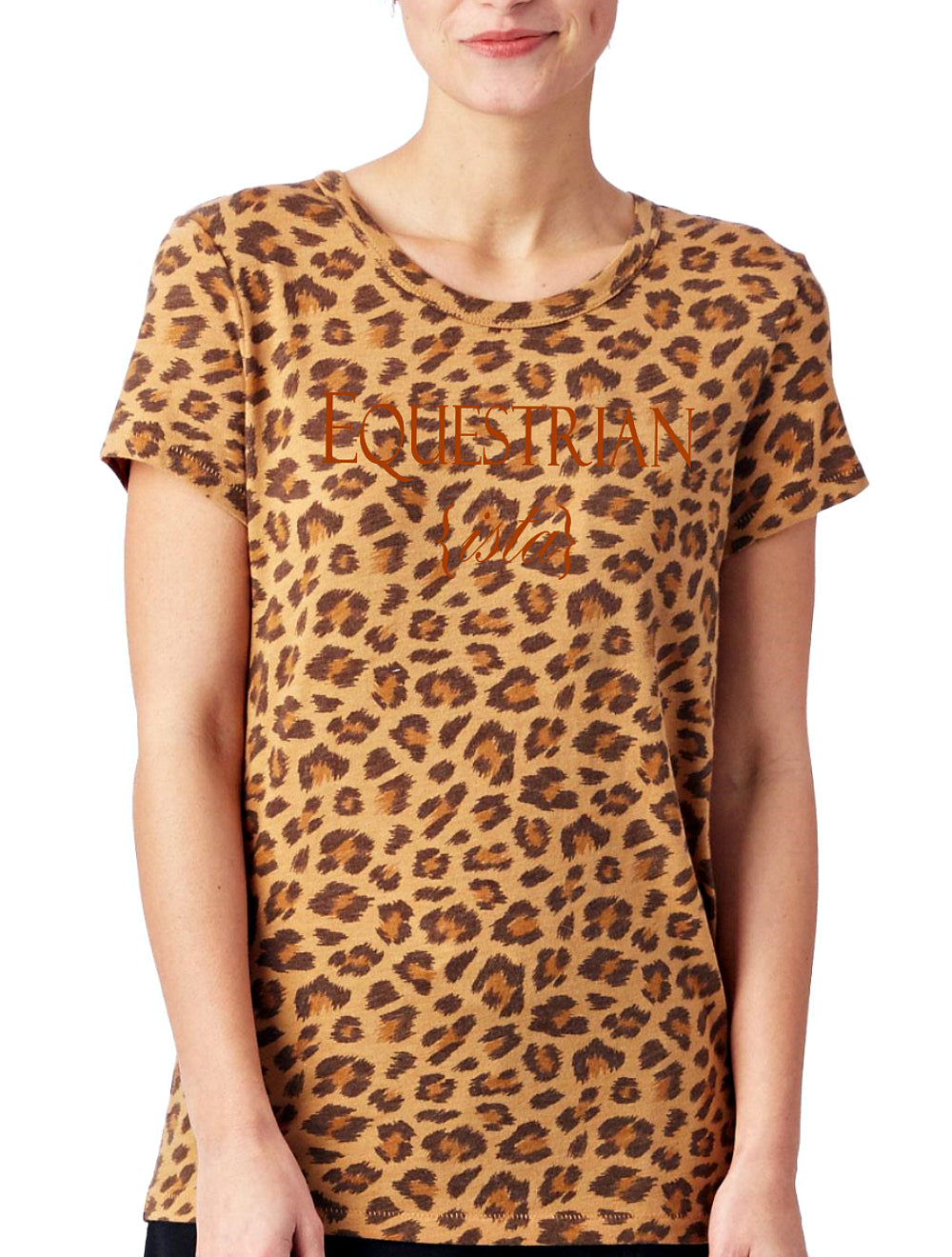 Women's Equestrian Leopard Print Crew Neck Shirt by Equestrianista Brand Apparel.