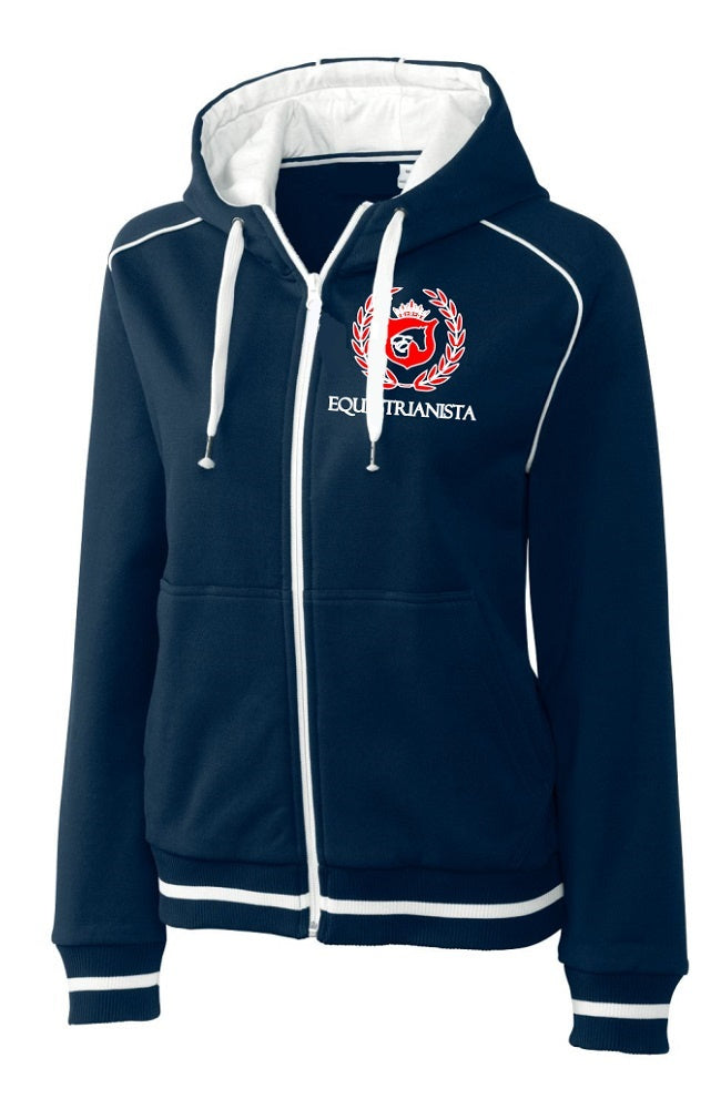 Women's Equestrian Team Full Zip Jacket in Red, White, Blue by EQUESTRIANISTA Brand Apparel.