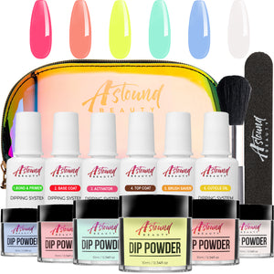 Dip Powder Nail Kit with 6 Color, 6 Liquid All-in-One Nail Dip Powder Kit