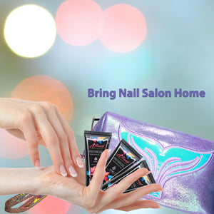 Polygel Nail Kit with LED Lamp, Slip Solution and Glitter, Glow in the Dark Polygel All-in-One Kit