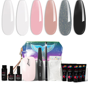 PolyGel Nail Kit with LED Lamp, Slip Solution, Black and Shimmer Grey PolyGel All-in-One Kit