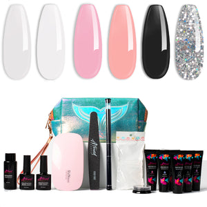 Polygel Nail Kit with LED Lamp, Slip Solution and Glitter PolyGel All-in-One Kit