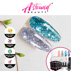 Polygel Nail Kit with LED Lamp, Slip Solution and Glitter Color Polygel All-in-One Kit