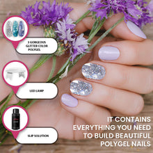 Load image into Gallery viewer, Polygel Nail Kit with LED Lamp, Slip Solution and Glitter Color Polygel All-in-One Kit