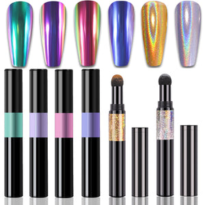 Chrome Nail Powder - 6 Color Holographic Nail Powder Pen