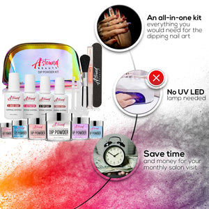 Dip Powder Nails Kit - 6 Color Glitter Dipping Travel Kit